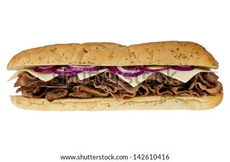 Steak cheese sub sandwich isolated on white background. Front view. - stock photo