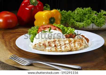 steak grilled chicken - stock photo