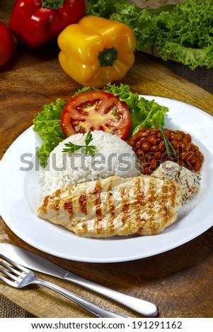 steak grilled chicken - stock photo