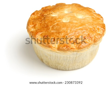 Steak meat pie on white background - stock photo