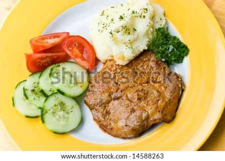 steak of pork with salad