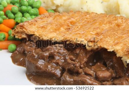 Steak pie with mashed potato - stock photo