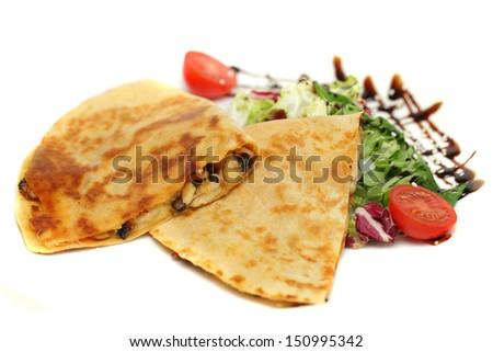 Steak Quesadilla - restaurant food, mexican cuisine - stock photo