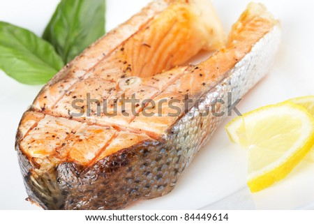Steak salmon grilled
