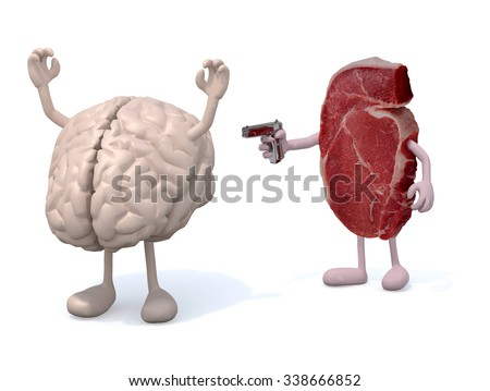 steak with arms, legs and gun on hand vs brain, isoloated 3d illustration - stock photo