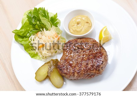 steak with cabbage salad - stock photo