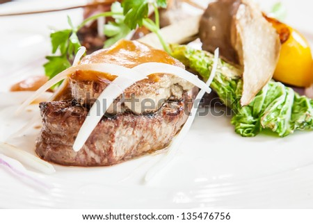 steak with foie gras - stock photo