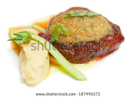 Steak with potato mash in plate isolated on white background - stock photo