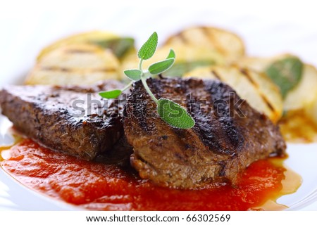 ... Images similar to ID 130228931 - steak salmon french fries and
