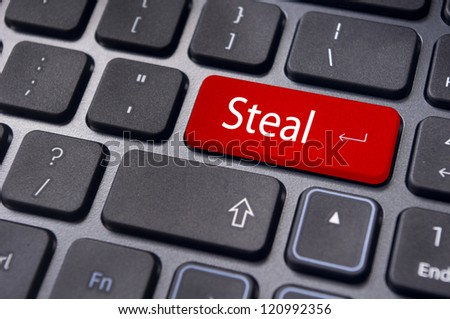 steal concepts or digital piracy, with message on enter key of keyboard. - stock photo