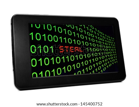 Steal text on pc tablet - stock photo