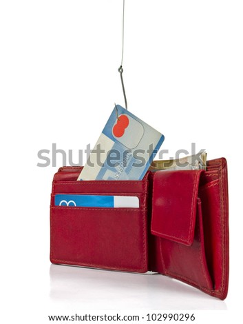 stealing credit card out of wallet -  isolated on white background