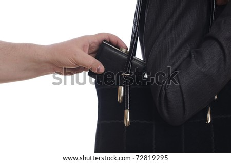 stealing purse from the bag on white - stock photo