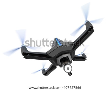 Stealth drone equip with search light isolated on white background. 3D rendering image.