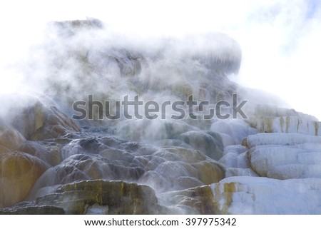Steam and Ripple patterns at mammoth hot springs in Yellowstone national park