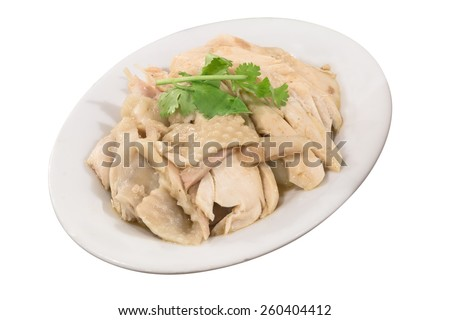 Steam chicken for eat with rice isolate - stock photo