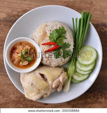 Steam Chicken with Rice, Thai food
