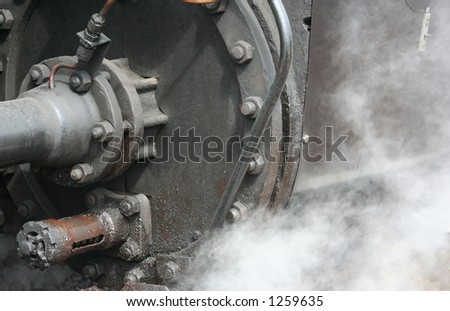 Steam coming out underneath of a steamtrain