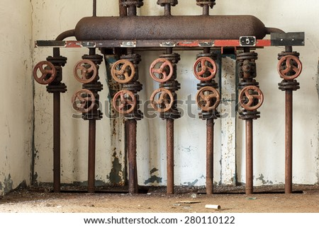 Steam distribution manifold in an old abandoned distillery