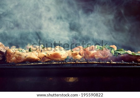 Steam grilled meat - stock photo