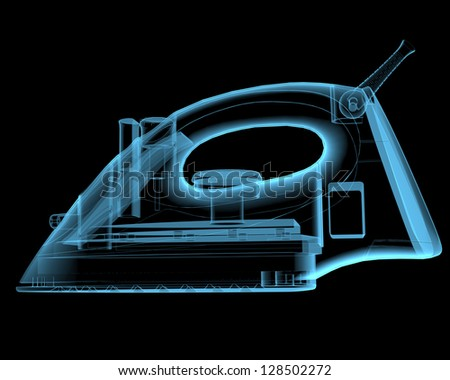 Steam iron (3D x-ray blue transparent isolated on black) - stock photo