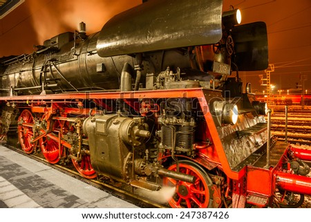 Steam locomotive at night. Cottbus. Germany - stock photo