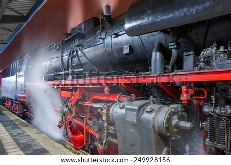 Steam locomotive at night. Cottbus. Germany, - stock photo