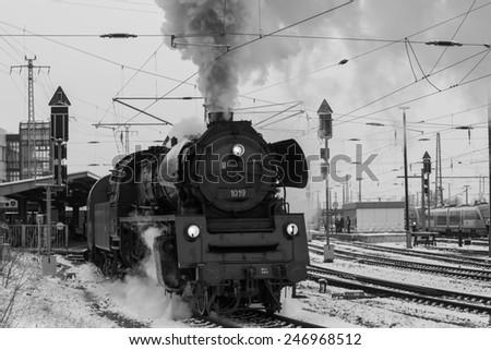Steam locomotive, Cottbus, Germany - stock photo