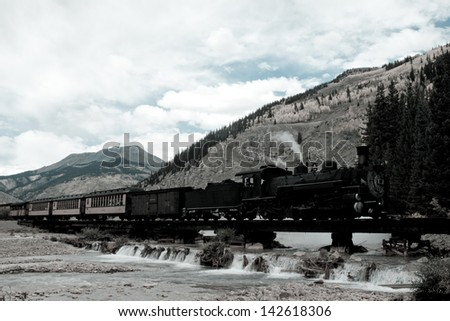 Steam locomotive engine. This train is in daily operation on the narrow gauge railroad between Durango and Silverton Colorado - stock photo