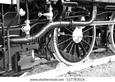 Steam Locomotive in Japan. Black and White Photos.