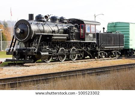 steam locomotive in Railroad Museum, Gorham, New Hampshire, USA - stock photo
