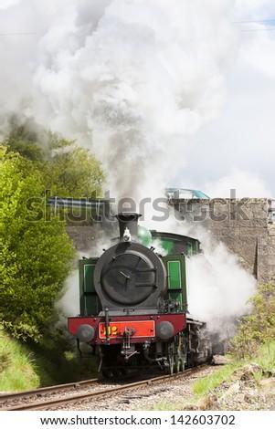 steam locomotive, Strathspey Railway, Highlands, Scotland - stock photo