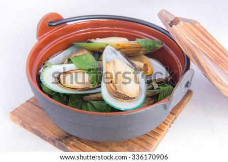 Steam mussels with thai herb, Thai food - stock photo