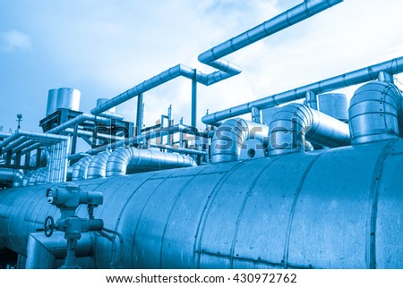 Steam pipe and equipment in power plant (Blue tone)