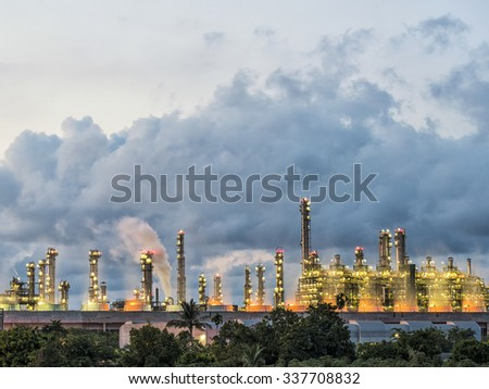 steam power plant in oil refinery factory - stock photo
