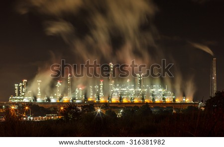 Steam power plants at night