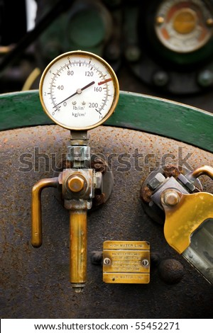 steam powered traction engine boiler pressure gauge - stock photo