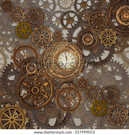 Steam punk gold abstract background - stock photo