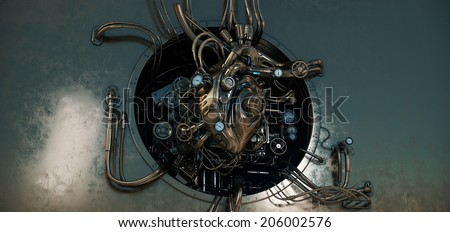 Steam punk heart module/ Unique rusty bronze heart turbine section - stock photo