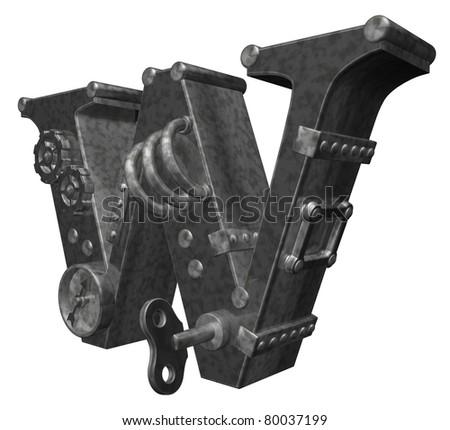 steam punk letter w on white background - 3d illustration - stock photo