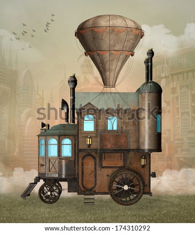 Steam punk surreal house - stock photo