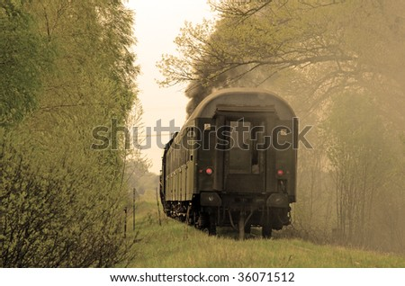Steam retro train passing the forest