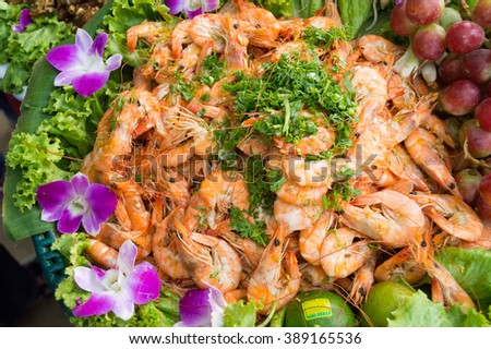 steam shrimps with vegetable in local market - stock photo