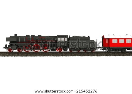Steam Train Illustration Isolated on White. Aged Steam Locomotive.