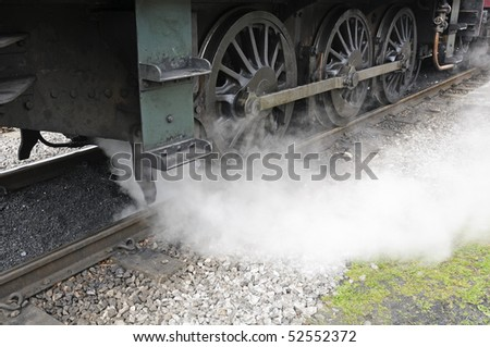 Steam train in Peak District National Park England
