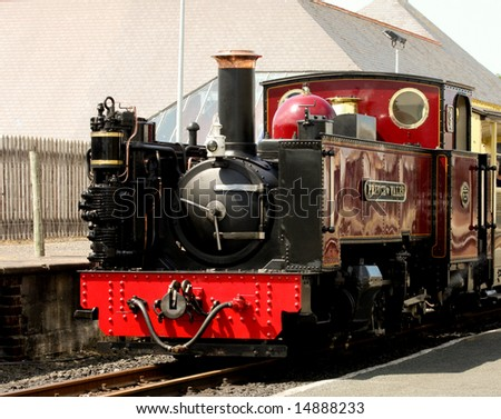 Steam train in station at Aberystwyth Wales on its way to Devils Bridge