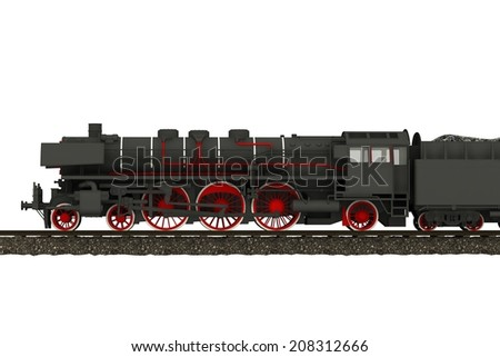 Steam Train Locomotive Illustration Isolated on White. Vintage Locomotive Side View 3D Render.