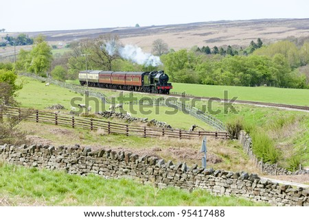 steam train, North Yorkshire Moors Railway (NYMR), Yorkshire and the Humber, England - stock photo