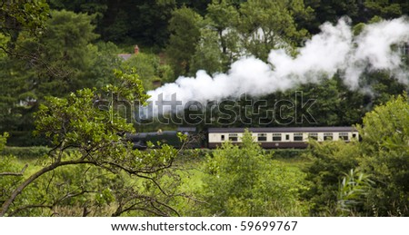 Steam Train through country - stock photo