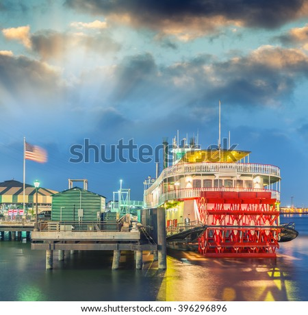 Steamboat on Mississippi river, New Orleans. - stock photo